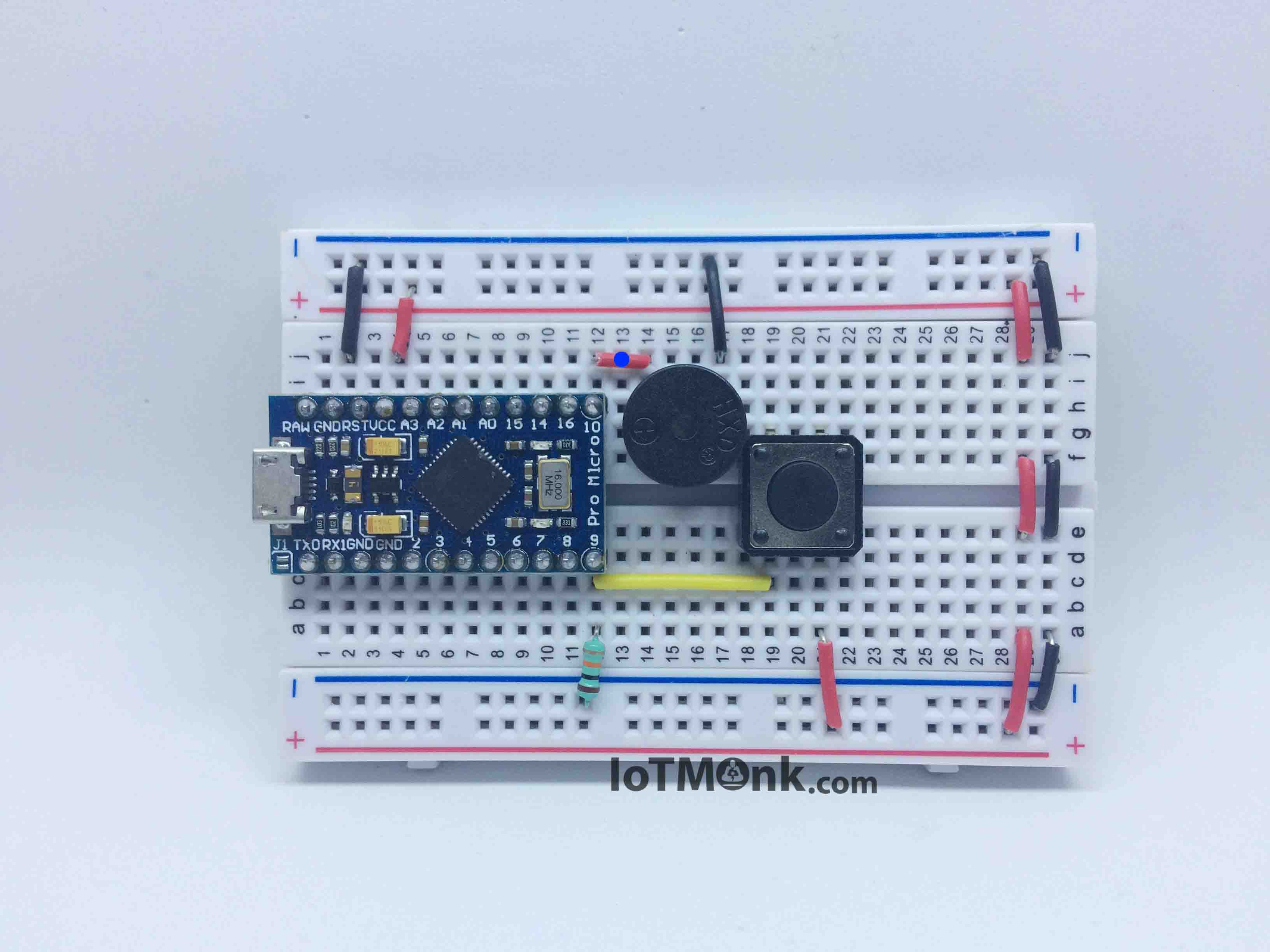 Setting up,programming and output of push button on breadboard with