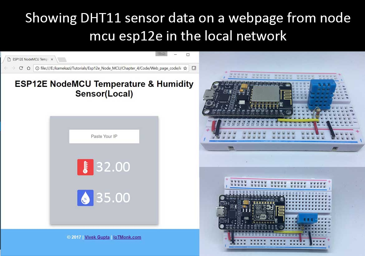 Read DHT11 data from nodemcu ESP12E and display on webpage