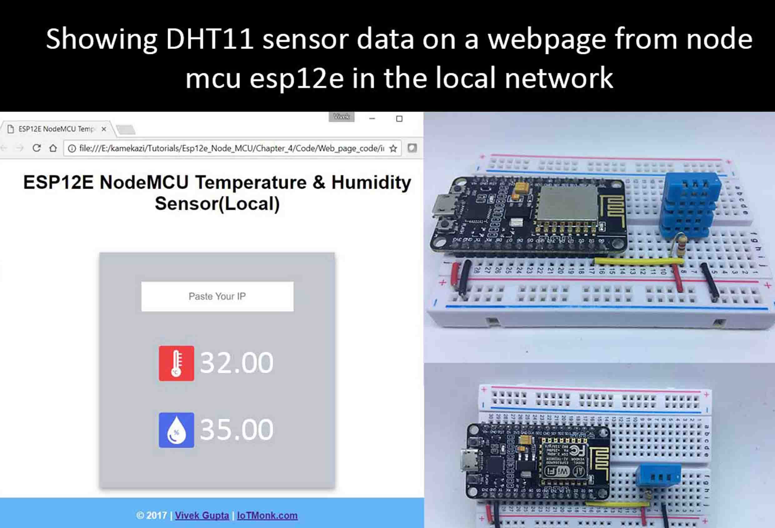 Read temperature and humidity from nodemcu ESP12E with DHT11 and show it on HTML webpage(Local)