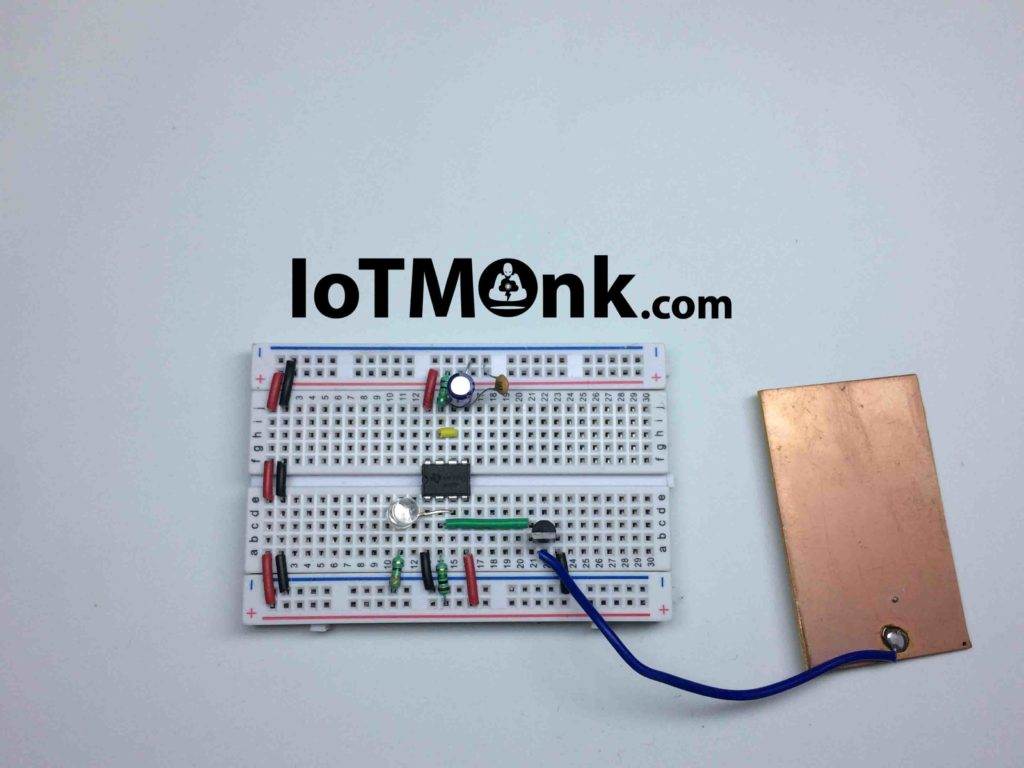 555 Timer IC Touch Switch – 100 times sensitive breadboard tutorial (2)