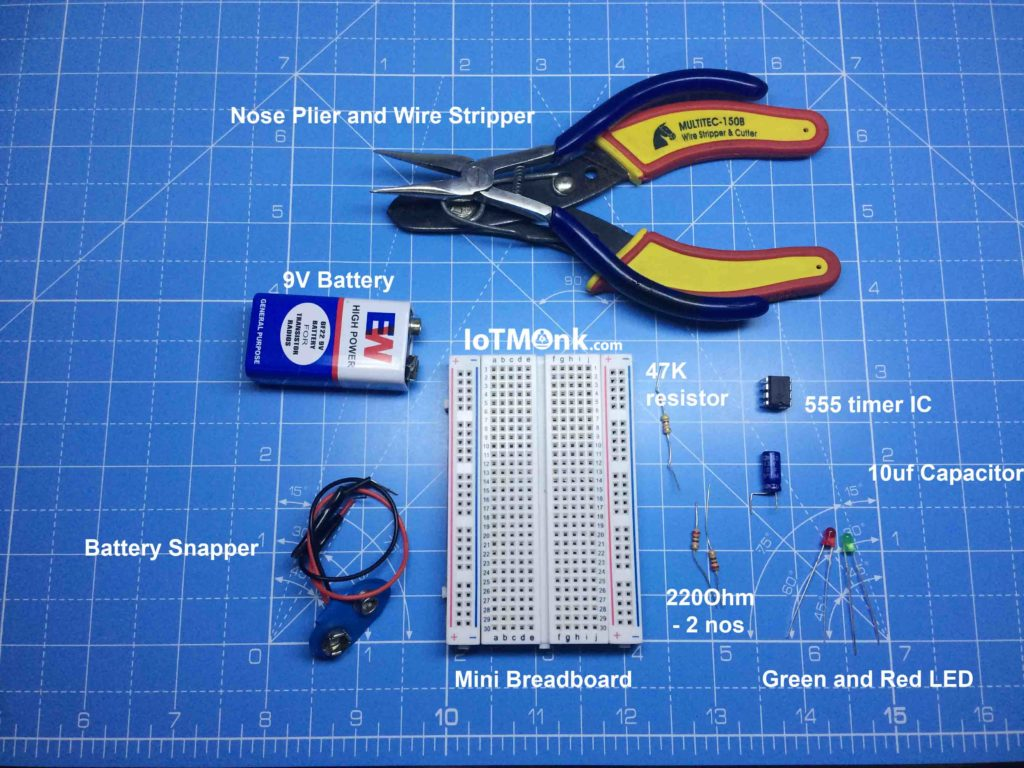 LED-Flashing-Rail-road-circuit-using-555-timer-IC-Breadboard