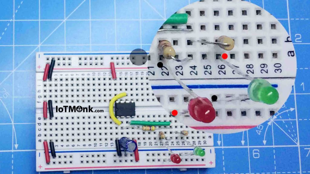 LED-Flashing-Rail-road-circuit-using-555-timer-IC-Breadboard-breadboard