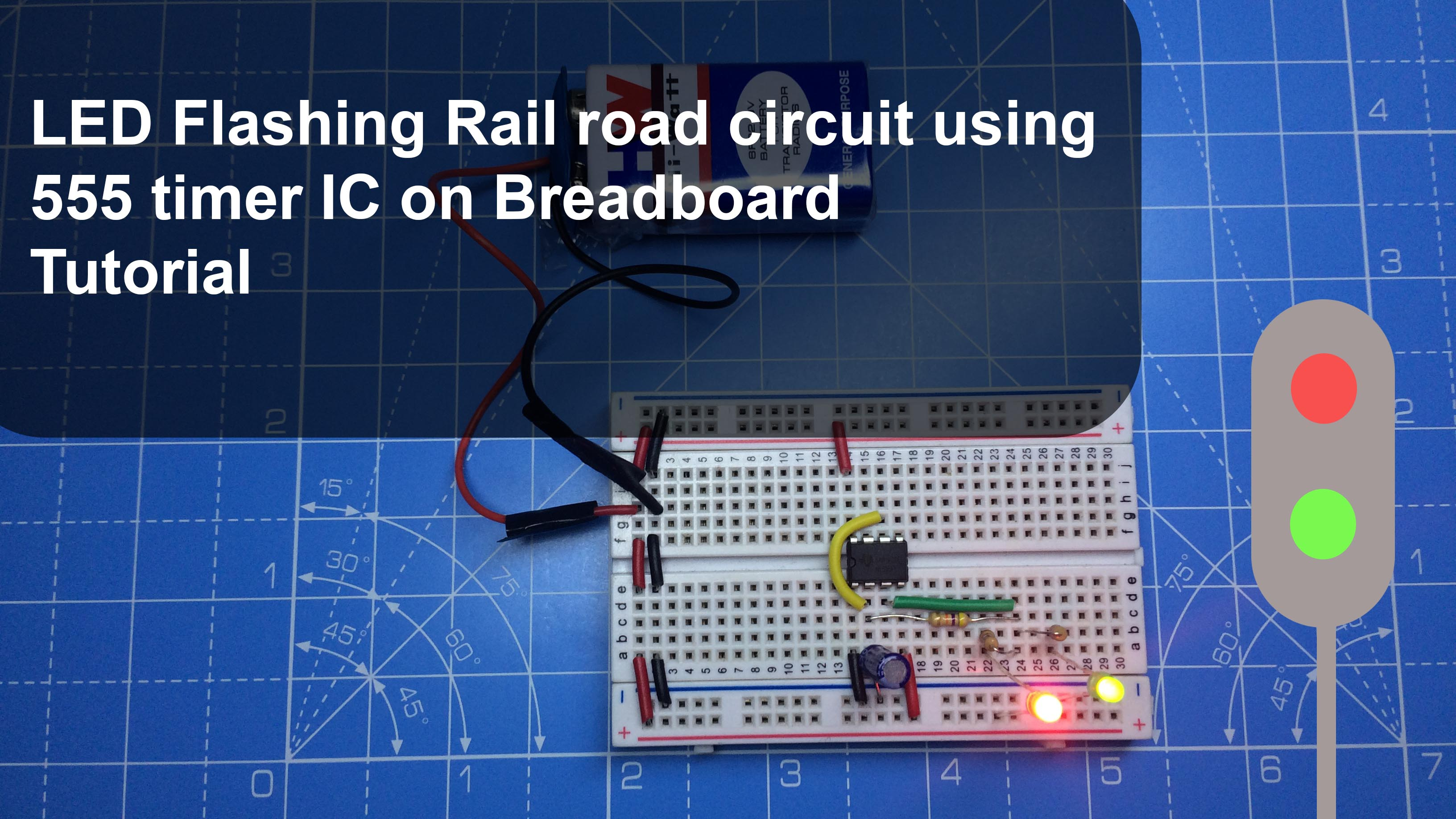 LED Flashing Rail road circuit using 555 timer IC – Breadboard
