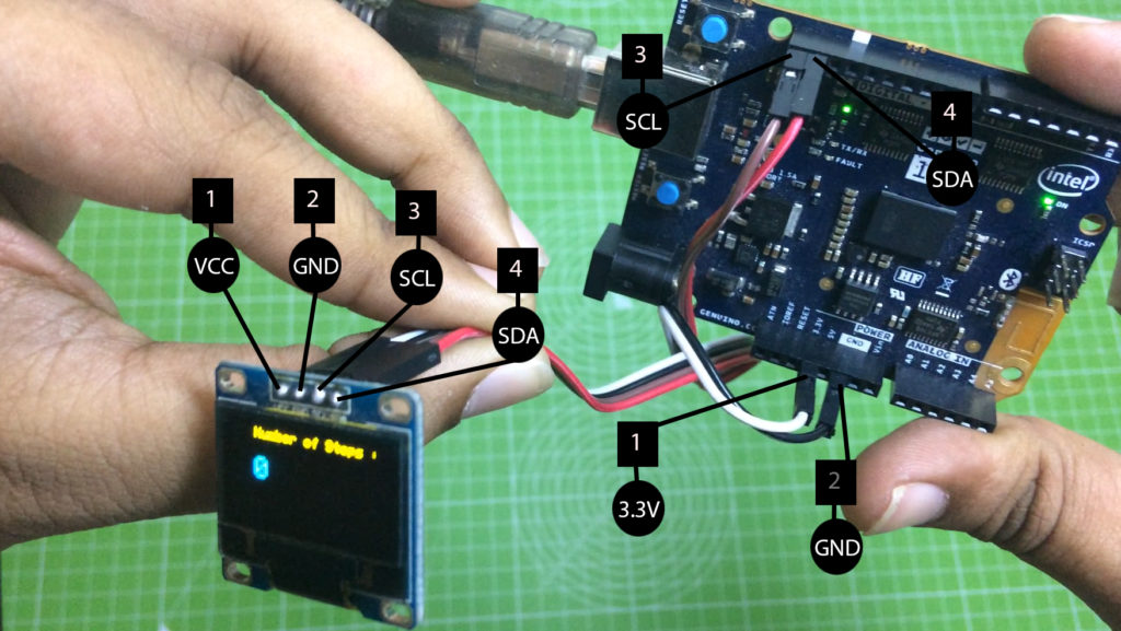 Step-Counter-using-Arduino-Genuino-101-/-Intel-Curie-circuit
